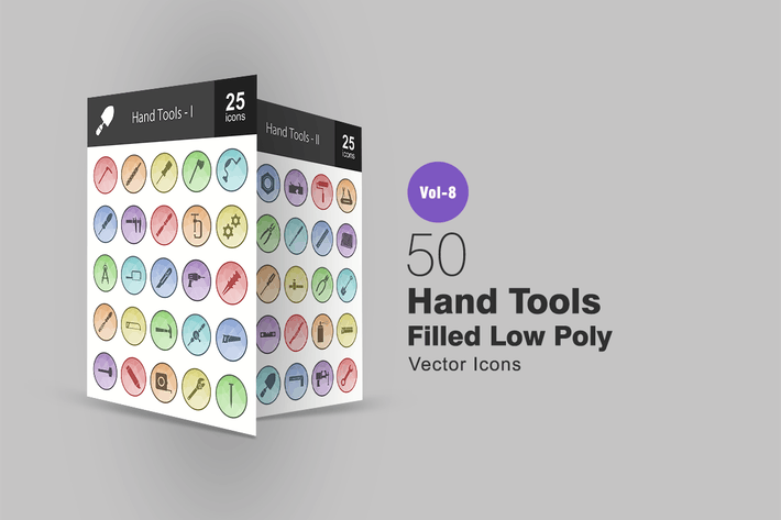 Cover Image For 50 Hand Tools Filled Low Poly Icons