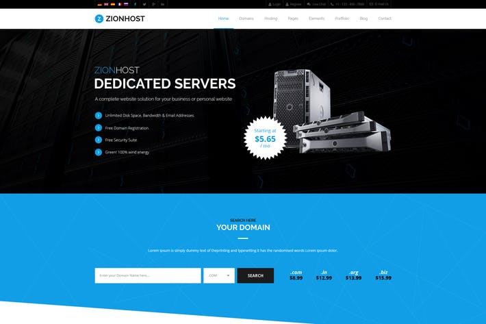 Thumbnail for ZionHost - Web Hosting, Responsive HTML5 Template
