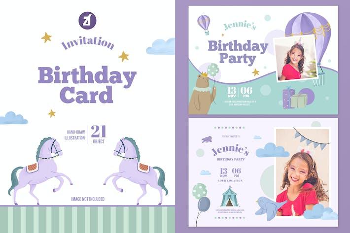 Circus theme birthday invitation card