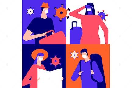 Preventive measures for travelers illustration