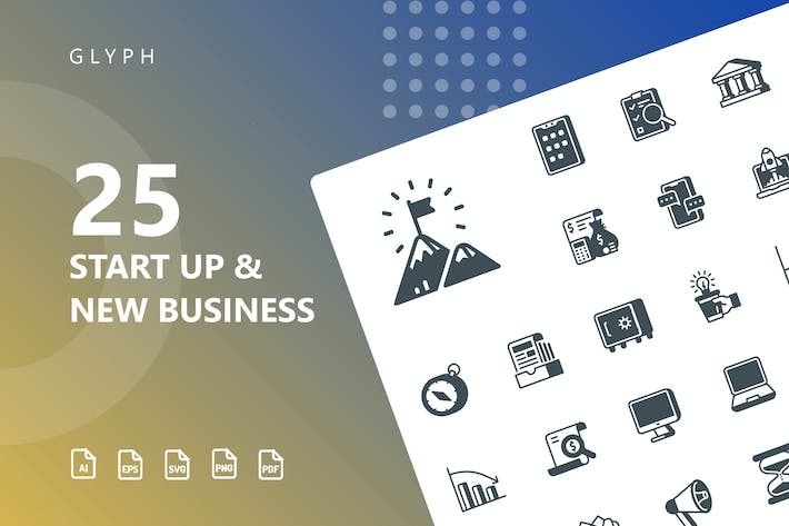 Thumbnail for Start Up & Business Glyph Icons