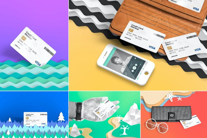 Thumbnail for 5 Credit Card Mockups