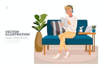 Lifestyle At Home - Ilustración Vector