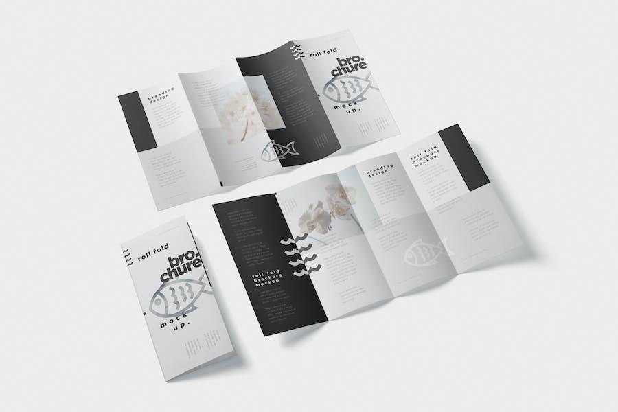 Roll-Fold Brochure Mockup - DL DIN Lang Size