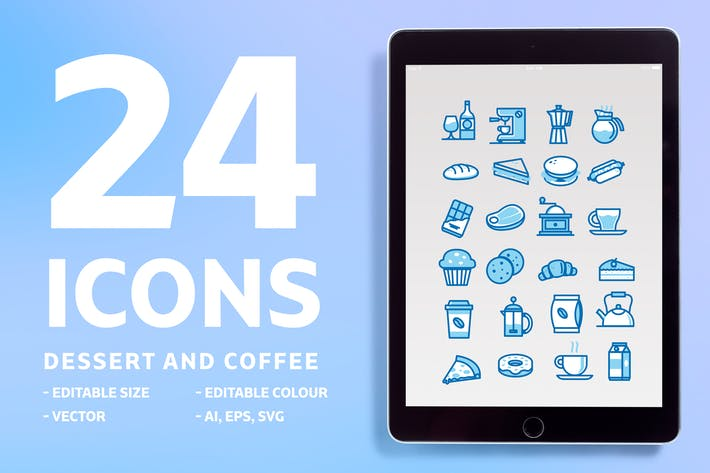 Cover Image For 24 Icons Dessert and Coffee