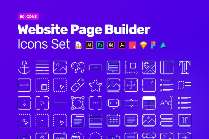 Cover Image For Website Page Builder Icon Pack – 80 Vector Icons