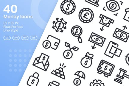 40 Money Icons Set - Line