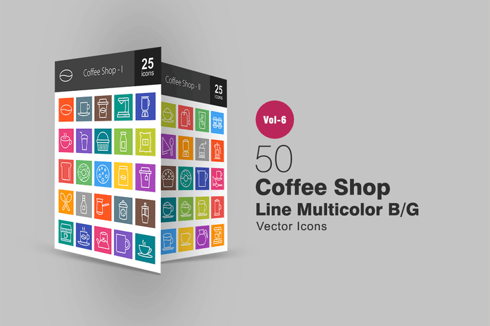 Thumbnail for 50 Coffee Shop Line Multicolor B/G Icons