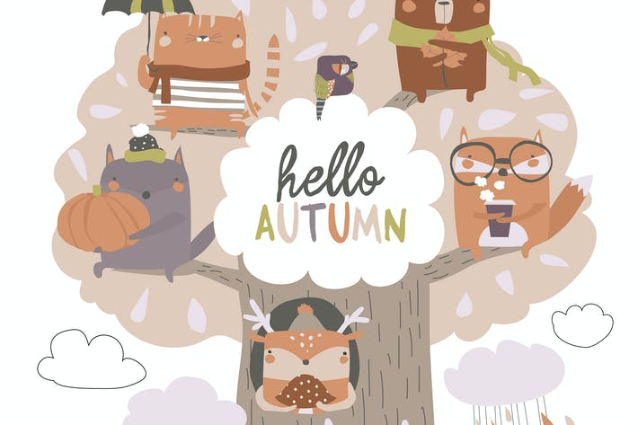 Thumbnail for Cute animals sit on autumn tree on white backgroun