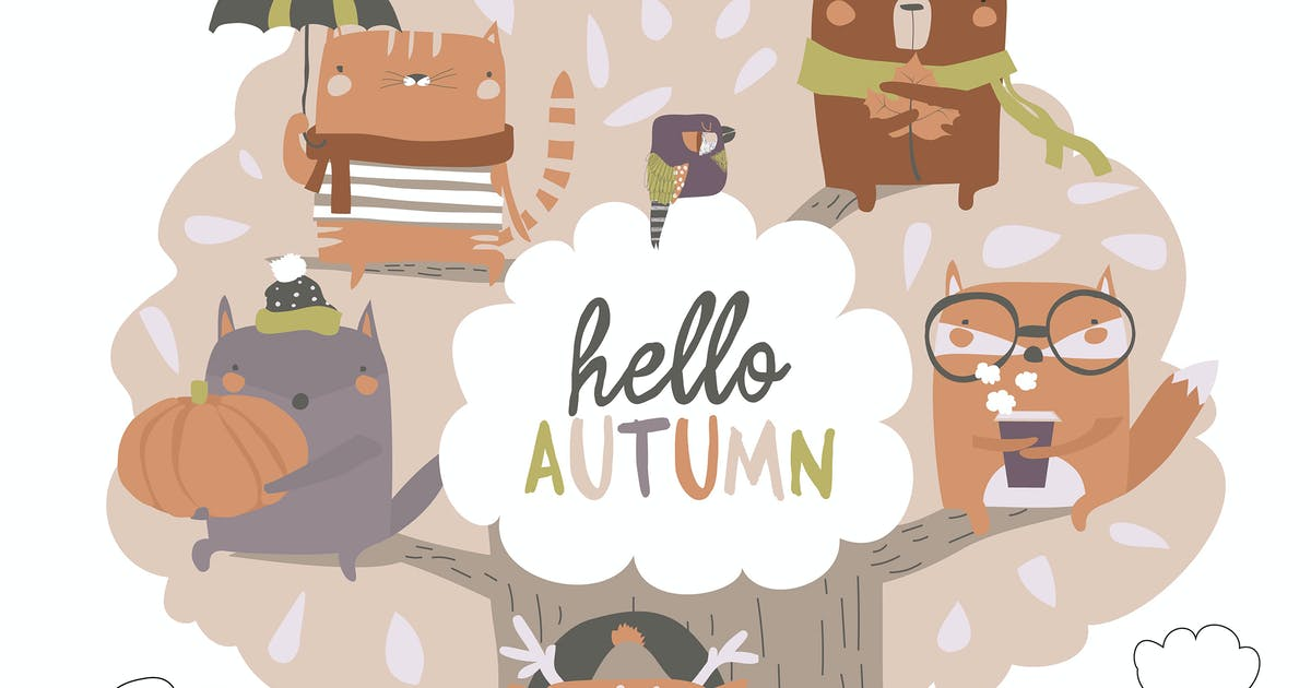Download Cute animals sit on autumn tree on white backgroun by masastarus