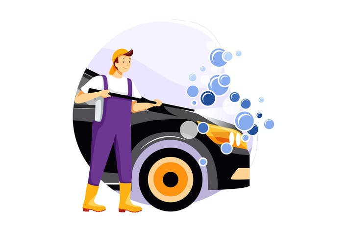 Thumbnail for Mechanic washing the car with high pressure water