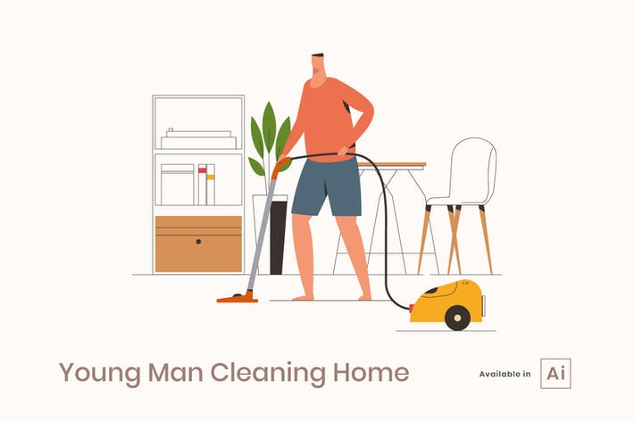 Thumbnail for Young Man Cleaning Home