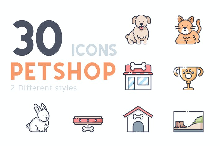 Thumbnail for 30 Pet shop icon set