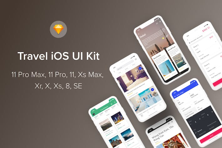 Thumbnail for Travel iOS UI Kit (Sketch)
