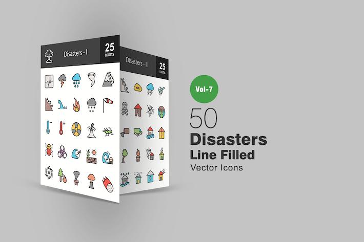 Thumbnail for Icons für 50 Katastrophen mit gefüllter Linie