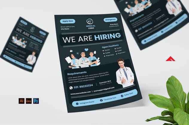 Doctor Medical Job Hiring Flyer Advertisement