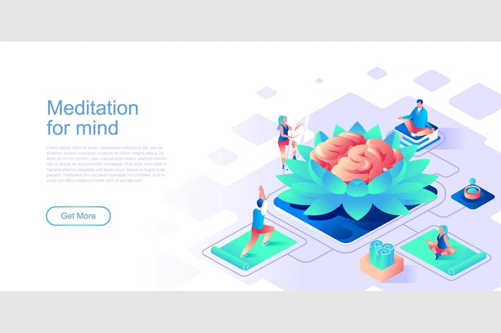 Thumbnail for Meditation Yoga Isometric Flat Concept Header