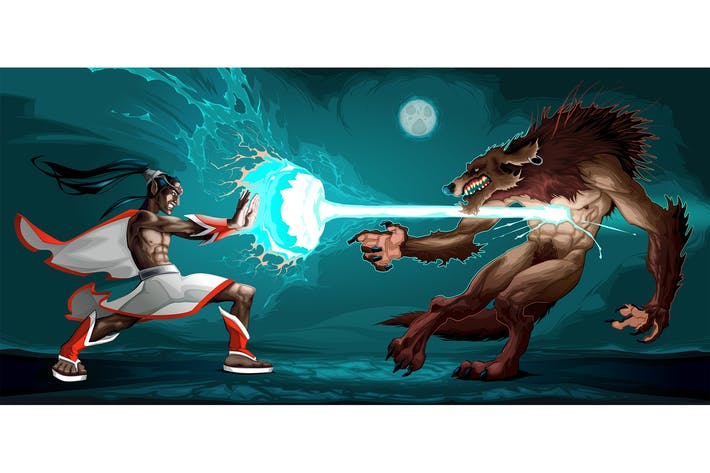 Thumbnail for Fighting Scene Between Elf and Werewolf