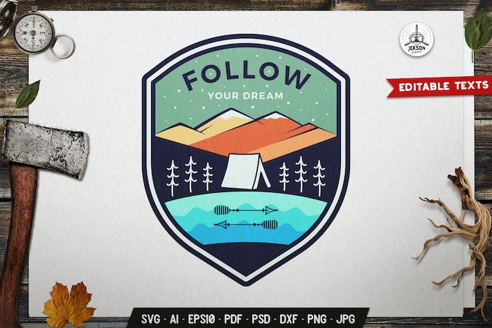 Thumbnail for Follow Your Dream Emblem Camping Outdoor Logo SVG