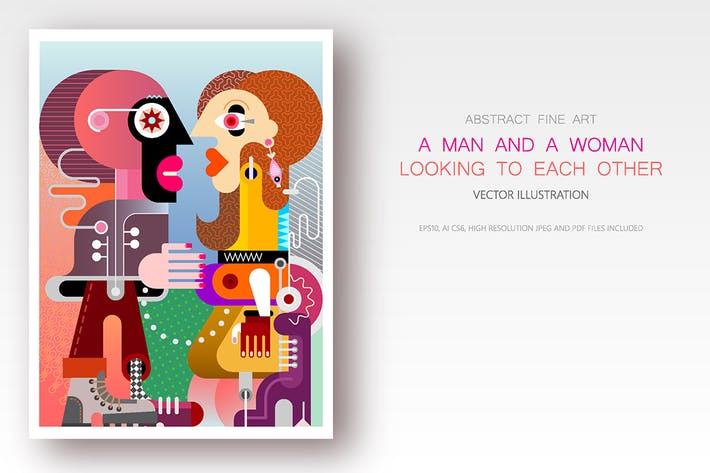 Cover Image For A Man and A Woman Looking to each other vector art