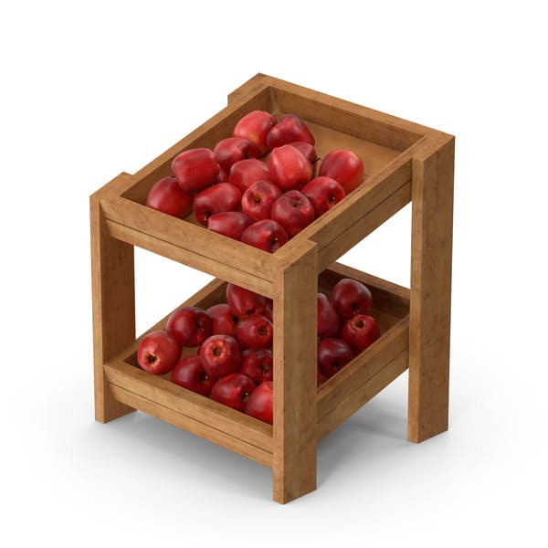 Wooden Merchandise Shelf with Red Chief Apple