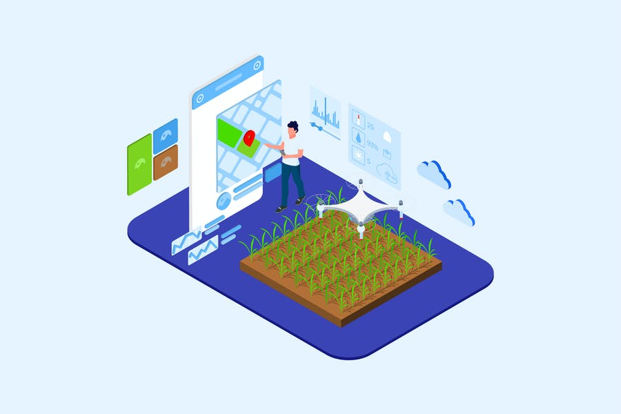 Automatic Watering with Drones Isometric - T2