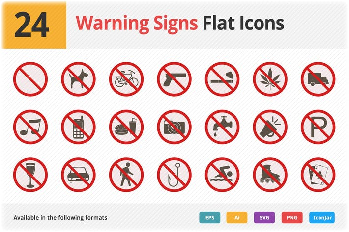Thumbnail for Warning Signs Flat Icons Vol 1
