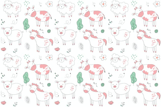 cute animal vector pattern