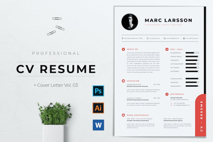 Thumbnail for Professional CV Resume Template Vol. 03