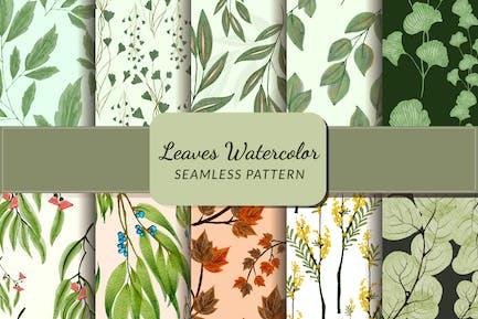 Leaves Watercolor Seamless Pattern Bundle