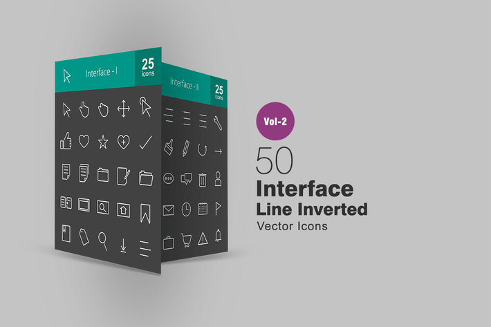 Thumbnail for 50 Interface Line Inverted Icons