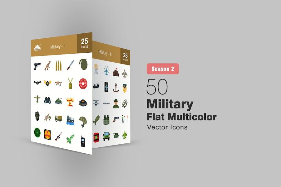 50 Military Flat Multicolor Icons Season II