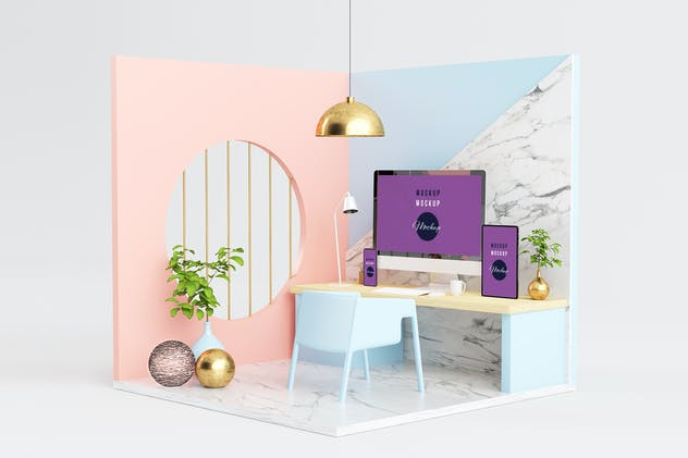 Design Studio Set with Responsive Devices Mockup