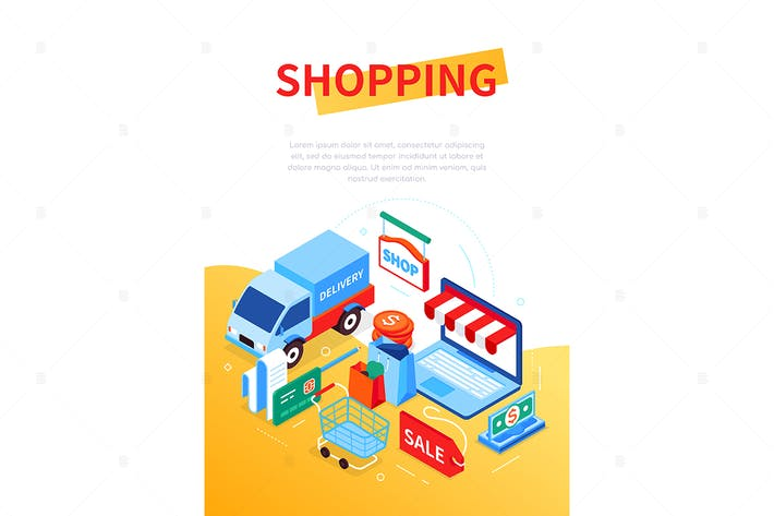 Online shopping and delivery - isometric banner