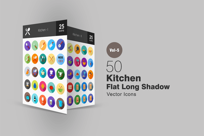 Thumbnail for 50 Kitchen Flat Shadowed Icons
