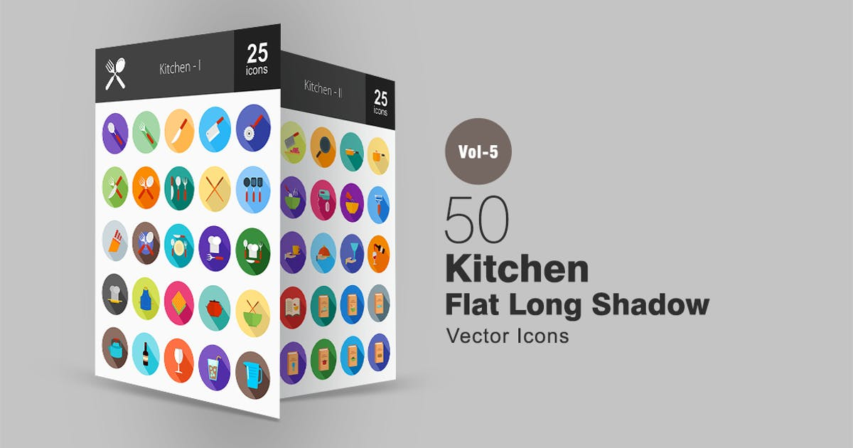 Download 50 Kitchen Flat Shadowed Icons by IconBunny