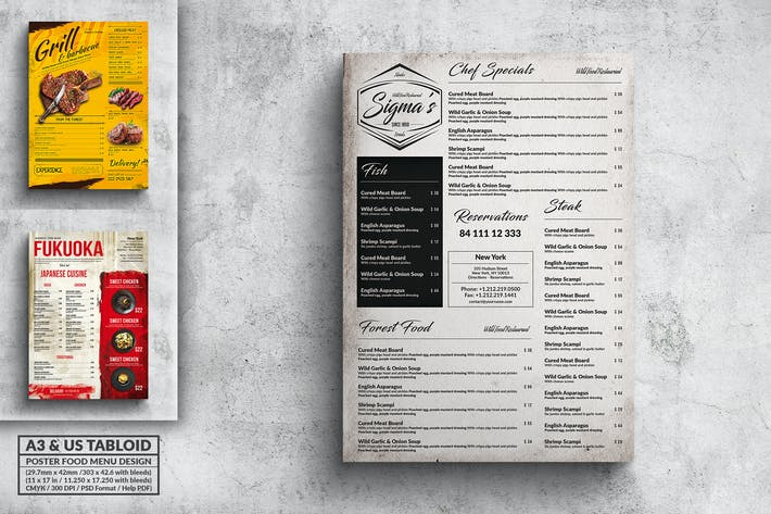 Thumbnail for Various Food Menu Poster Design Bundle