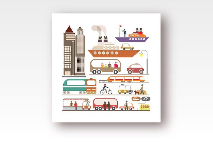 Thumbnail for Ilustración gráfica Vector Moderno de la Ciudad