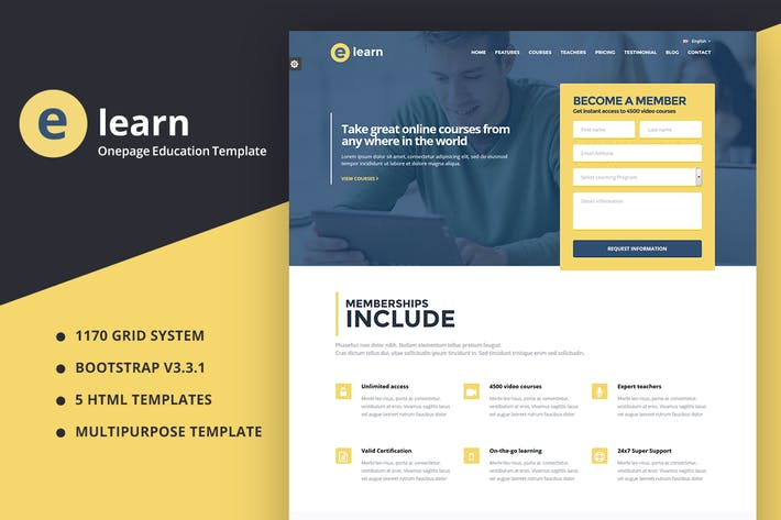 Thumbnail for e-Learn - Onepage Bootstrap Education HTML