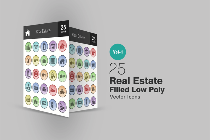 Thumbnail for 26 Real Estate Filled Low Poly Icons
