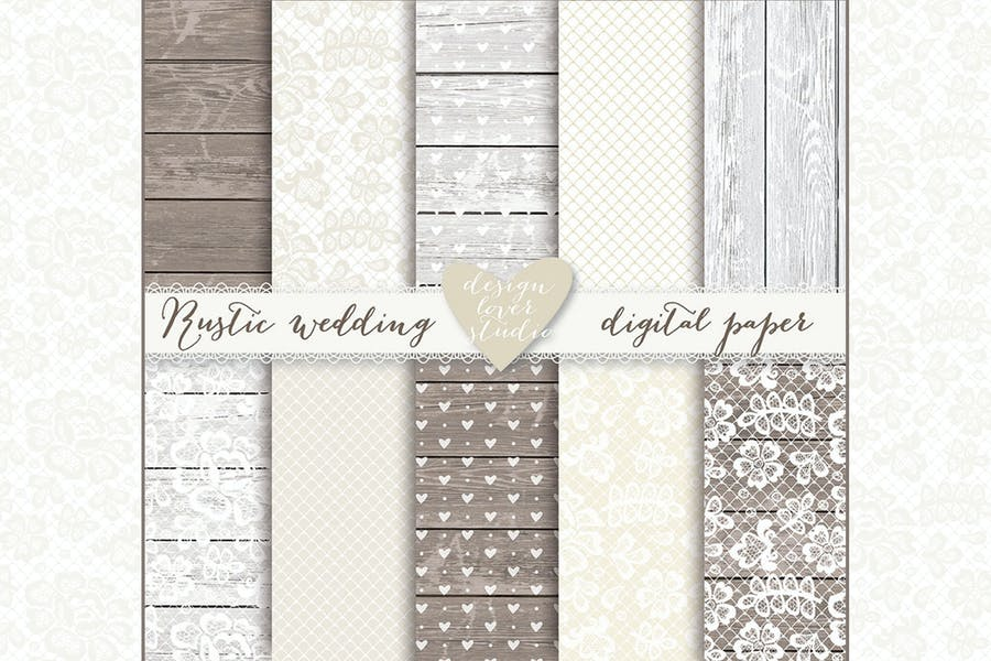 Lace, wedding invite champagne digital papers