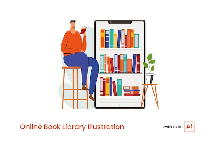 Thumbnail for Online Book Library Illustration