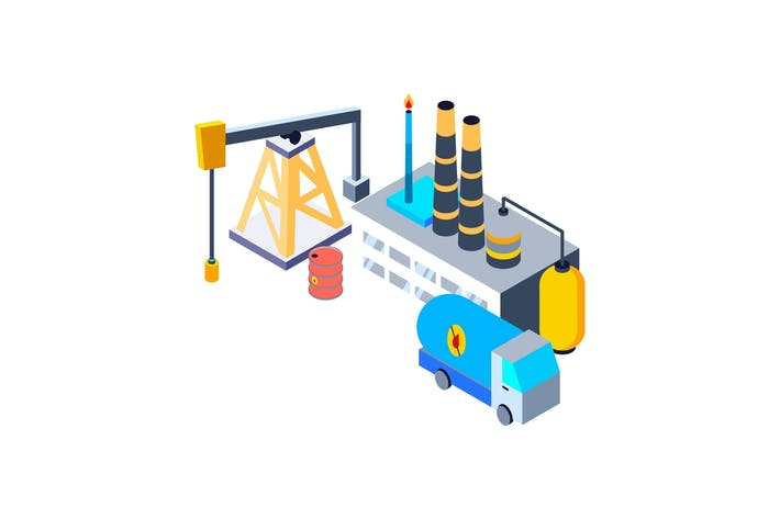 Thumbnail for Oil Industry Isometric Illustration