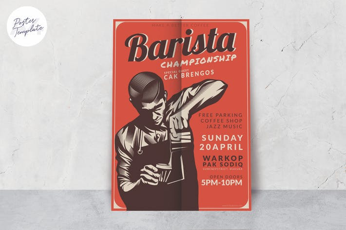 Thumbnail for Barista Poster Design Template
