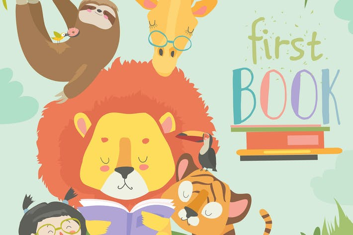 Cover Image For Little girl reading book with cartoon animal. Lion