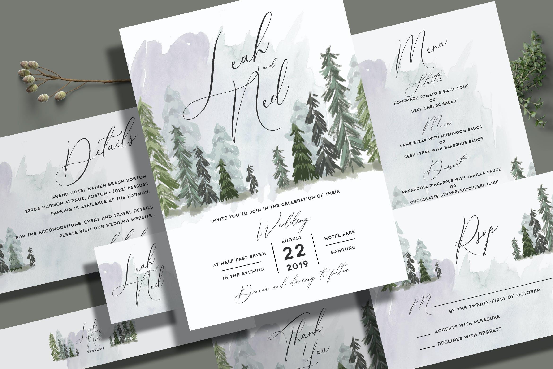 Pine Trees Wedding Invitation Set By