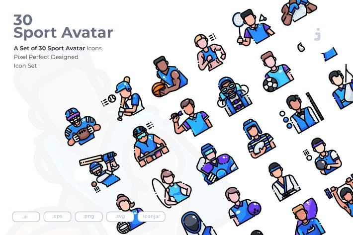 Thumbnail for 30 Sport Avatar Icons