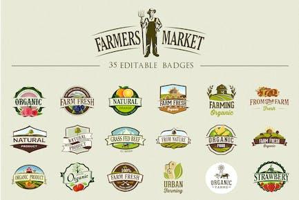 36 Etiketten und Abzeichen für Bio-Lebensmittel