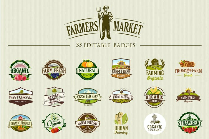Thumbnail for 36 etiquetas e insignias de Comida orgánicos