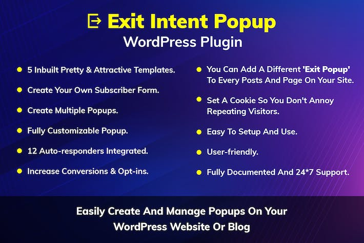 Thumbnail for Exit Intent Popup WordPress Plugin